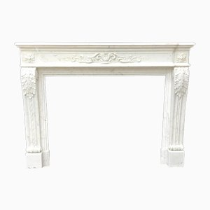 Antique Louis XVI Style Carrara Marble Fireplace