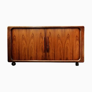 Rosewood TV Cabinet with Tambour Doors from Dyrlund, Denmark, 1960s