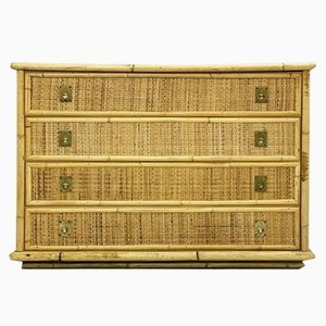 Dal Vera Bamboo and Wicker & Rattan Chest of Drawers, Italy, 1960s