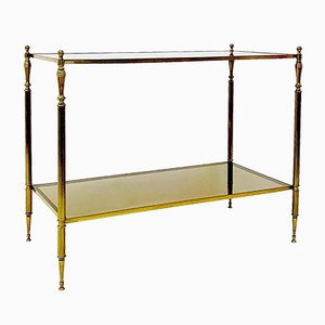 Brass & Smoked Glass Side Table in the Style of Maison Jansen, 1970s