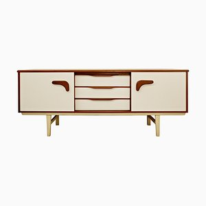 Sideboard in Teak and White Laminate & Boomerang Handle, 1970s