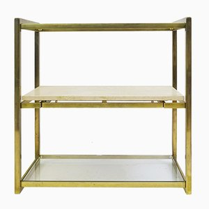 Brass and Glass Shelving with Sliding Travertine Shelf, 1970s