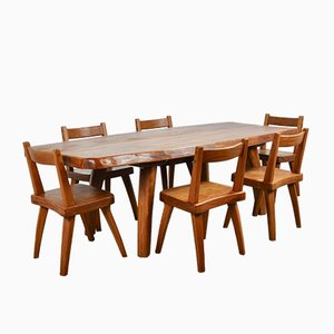 Elm Dining Table & Chairs Set, 1970s