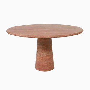 Red Travertine Dining Table in the Style of Angelo Mangiarotti, 1970s