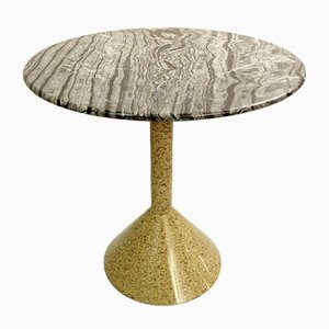 Italian Granite and Marble Round Side Table in the Style of the Mediterraneo Series by Nanda Vigo, 1980s