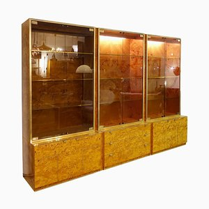 3 Modular Burl Wood and Brass Illuminated Display Cabinet by Willy Rizzo, 1970s