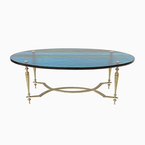 Oval Coffee Table with Blue Glass Top, 1970s