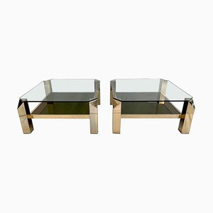 23k Gold-Plated Chrome Coffee Tables from Belgo Chrom, Belgium, 1980s, Set of 2