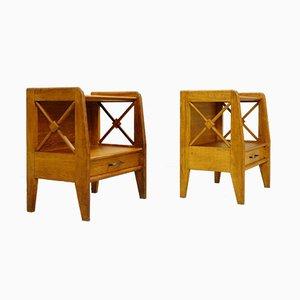 Oak Bedside Tables from Atelier Saint Sabin, 1950s, Set of 2
