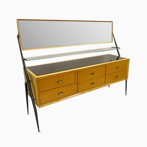Mirror Ash Sideboard or Chest of Drawers by Silvio Cavatorta, Italy, 1958