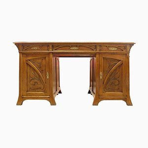 Art Nouveau Double-Sided Oak Desk