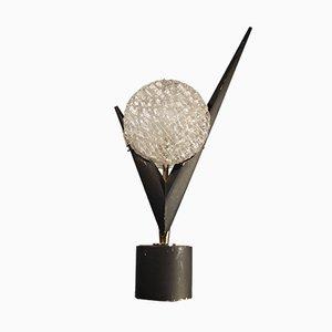 Französische skulpturale Glas, Holz und Messing Tischlampe von Arlus, 1950er
