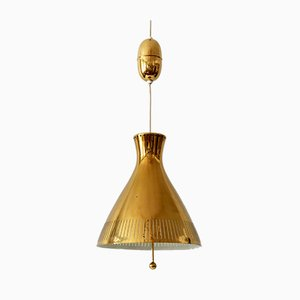 Mid-Century Counterweight Brass Pendant Lamp from Vereinigte Werkstätten Collection, 1960s