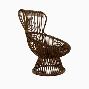 Rattan Lounge Chair by Franco Albini, 1950s
