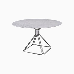 Chrome Model Delta Dining Table with Carrara Marble Top by Rudi Verelst for Novalux, 1970s