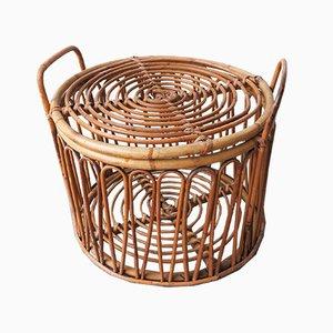 Mid-Century Italian Rattan and Bamboo Basket, 1950s