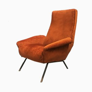 Italian Brown Velvet Lounge Chair, 1950s