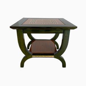 Italian Green Aniline and Maple Coffee Table, 1980s