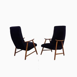 Danish Black Velvet and Solid Beech Lounge Chairs, 1960s, Set of 2