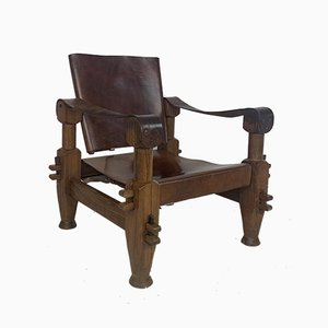 Vintage French Teak and Leather Safari Chair, 1940s