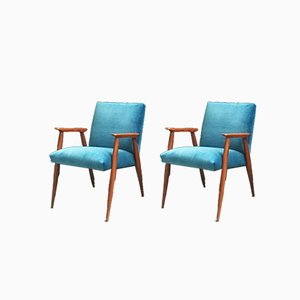 Danish Wooden and Light Blue Velvet Lounge Chairs, 1960s, Set of 2