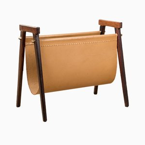 Danish Rosewood and Leather Magazine Rack by Torbjørn Afdal, 1960s