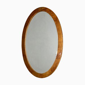 Art Deco Italian Oval Burl Wood Mirror, 1930s