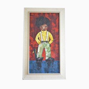 Peinture Boy Vintage avec une Peinture à l'Huile de Canard, 1960s