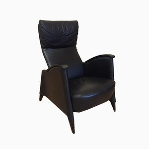 Black Leather Armchair, 1980s