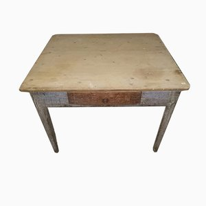 Antique Italian Square 2-Tone Pinewood Dining Table