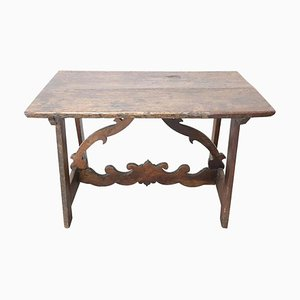 Antique Walnut Table with Lyre Legs, 1650s