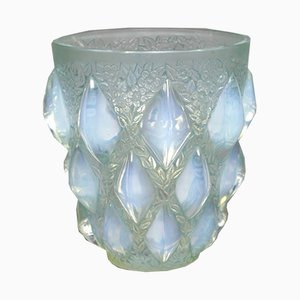 Opaline and Green Patinated Glass Rampillon Vase by R.Lalique for Maison Lalique, 1927