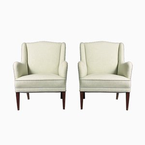 Mid-Century Lounge Chairs in the Style of Frits Henningsen, 1940s, Set of 2