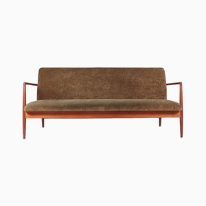 Mid-Century Teak and Velvet Sofa from C. B. Hansen, 1950s