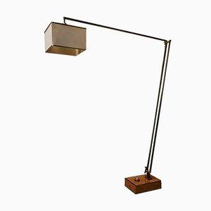 Italienische Stehlampe aus Messing, Dornbusch & Stoff von Romeo Rega, 1970er