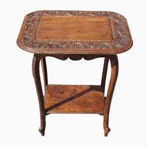 Antique Carved Solid Walnut Side Table, 1910s