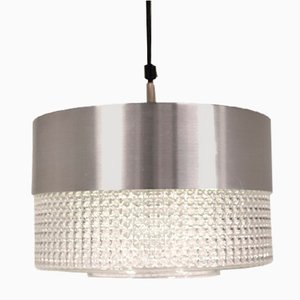 Swedish Metal and Crystal Ceiling Lamp, 1960s