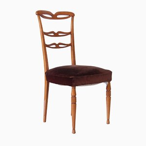 Mid-Century Light Wood and Brown Velvet Dining Chairs, Set of 6