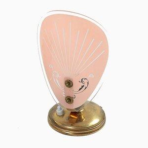 Mid-Century Rosa Glas Tischlampen, 1950er, 2er Set
