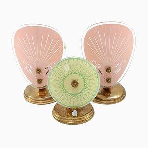 Mid-Century Glas Tischlampen, 3er Set