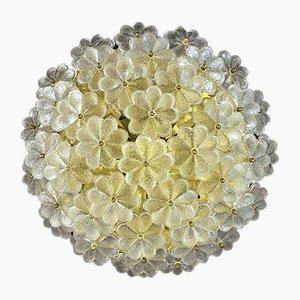 Florale Mid-Century Deckenlampe aus Glas von Ernst Palme, 1960er