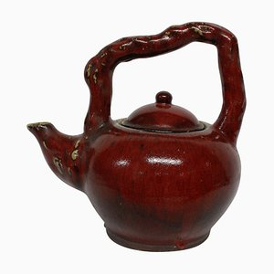Large Mid-Century Japanese Sangue De Boeuf Ornamental Tea Pot