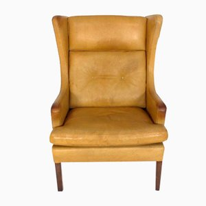 Danish Patinated Leather Lounge Chair, 1960s