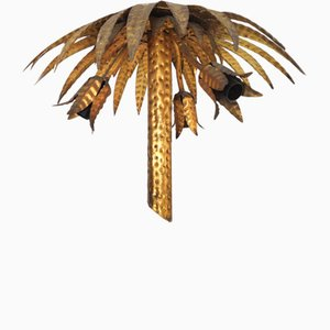 Goldene Palmen Hängelampe, 1960er