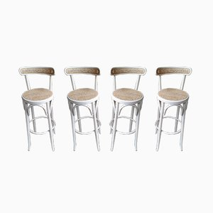 Wicker Bar Stools, 1970s, Set of 4