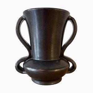 Mid-Century Black Ceramic Vase from Vallauris, 1950s
