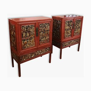 19th Century Gold and Red Lacquered Cabinets, Set of 2