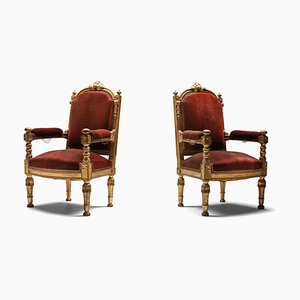 Antique Gilt Wood and Velvet Armchairs, 1880s, Set of 2