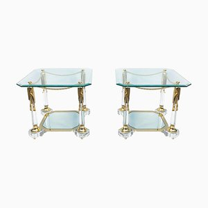 Hollywood Regency Lucite and Brass Rope Side Tables, 1980s, Set of 2