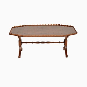 Antique Yew Wood Oyster Veneer Coffee Table, 1920s